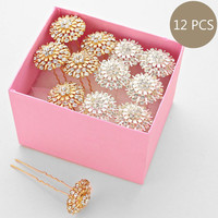 White & Gold Rhinestone Fashion Bundle Hair Clips