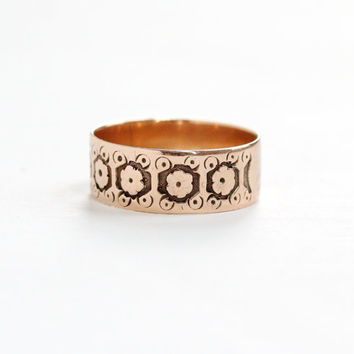 Antique Victorian 10k Rose Gold Ring - Size 6 1/2 Vintage Late 1800s Thick Cigar Style Fine Wedding Band Jewelry