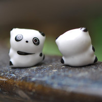10pcs Porcelain Ceramic Panda beads White Black -80137-1