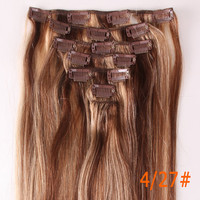 "22"" Long 80g dip dyed hair extensions Clip in Remy 100% Human clip Hair Extensions Wedding Gift free shipping WGA"