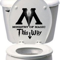 "8"" Ministry of Magic Harry Potter Toilet Decal - Many sizes and colors!"