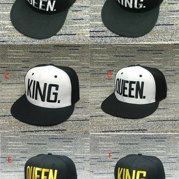 Couples King and Queen Flat Brim Hat