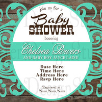 Rustic Wood Vintage Baby Shower Invitation - Printable Digital File