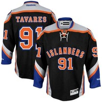 Mens New York Islanders #91 John Tavares Reebok Black Premier Player Hockey Jersey