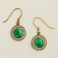Round Emerald and Cubic Zirconia Drop Earrings - World Market
