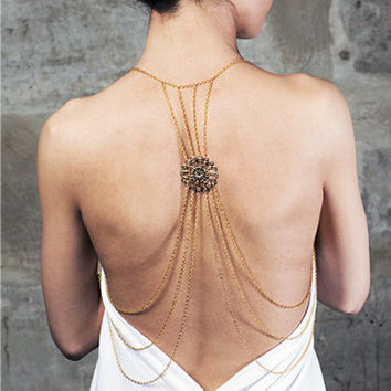 Hollow Out Flower Back Body Chain [8026376263]