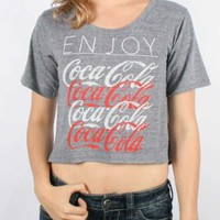 Mighty Fine - Womens Enjoy Coke Crop T-Shirt In Grey Triblend