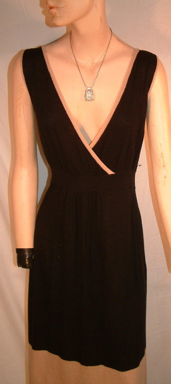 BCBG Max Azria sleeveless Black & Tan Tunic Dress sz XL