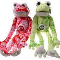 Lot 2 Flower Power Frogs Peace Symbol Hanging Plush Embroidered Green Red