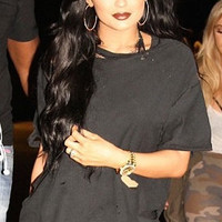GET THE LOOK Kylie Jenner T shirt Distress Black Ripped Cut Tee Celebrity Street Style Clothing