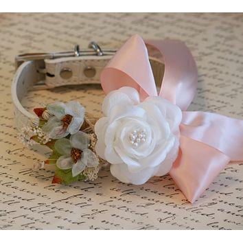 White and Blush Floral Dog Collar, Pet Wedding accessory, Blush wedding, Spring wedding idea, Country Western
