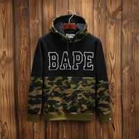 Bape Fashion Winter Unisex Camouflage Patchwork Hoodies