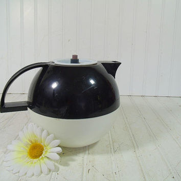 Vintage Crown Corning One Quart Thermique Design Pitcher - Mid Century Thermal Form Mod Black & White Round Carafe - QT Hot or Cold Thermos