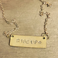 HAMILTON Rise Up Hammered Gold Bar Necklace