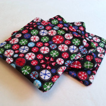 Set of Four Holiday Fabric Coasters / Cotton Drink Coasters