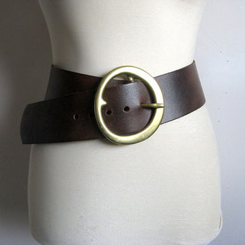 Vintage 1980s Leather Belt Danier Dark Brown Wide Leather Belt Ceinture en Cuir Small