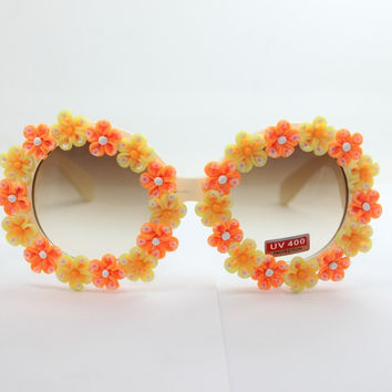 Stylish Floral Sunglasses Strong Character Mirror [4915289156]