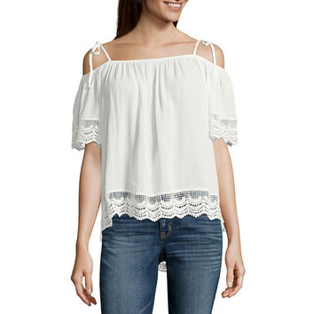 by&by Elbow Sleeve Boat Neck Knit Blouse-Juniors - JCPenney