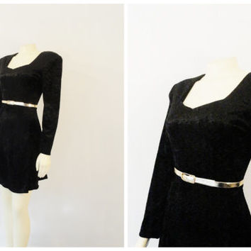 SALE Vintage Dress 90s Byer Too Black Crushed Velvet Black Goth Small to Medium