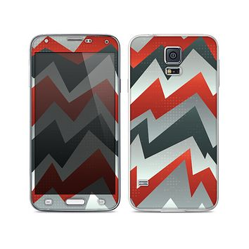 The Abstract Red, Grey and White ZigZag Pattern Skin For the Samsung Galaxy S5