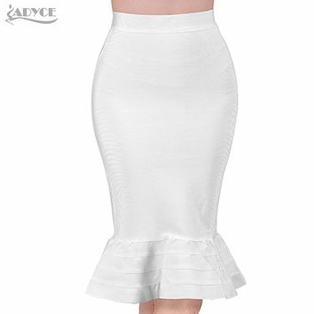 New sexy women Evening Party white summer Skirt yellow black ruffles celebrity knee-length Mermaid Bodycon bandage skirts