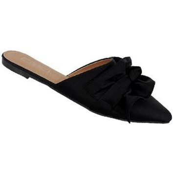 Pointed Toe Mule with Bow, Black