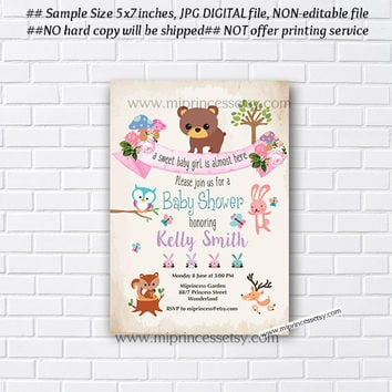 Woodland Animal Baby Shower, Jungle  woodland Invitation, bunny, bear, owl, deer, little girl party,  baby shower invitation - card 928