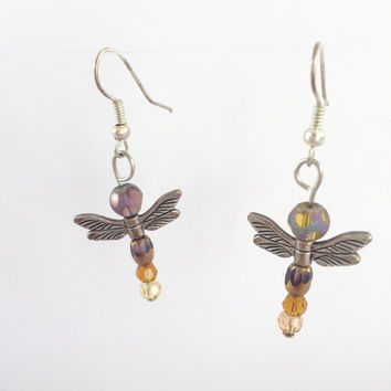 Dragonfly earrings, beaded jewelry, drshongly wings, colorful, handmade gifts, all earring on sale