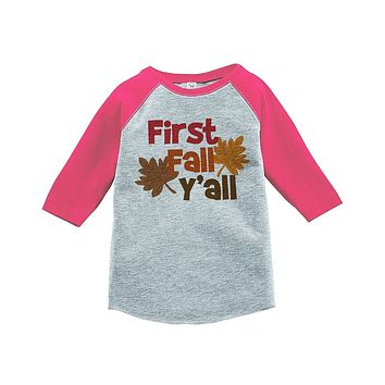 Custom Party Shop Baby's First Fall Y'all Pink Raglan