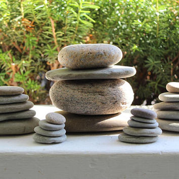 Stone Cairn Garden Sculpture Collection , Rock Art , Rock Garden Supplies , DIY Stone art , Zen Decoration , Stack