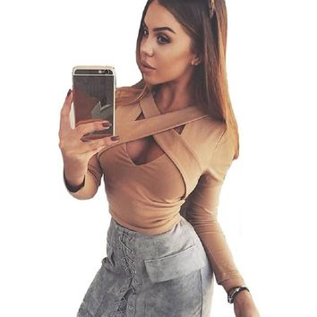 2017 Fashion Autumn Bandage Cross Women's Blouses Full White Sexy Women Short Women Crop Top Black Blusa Regata Feminine Blusa