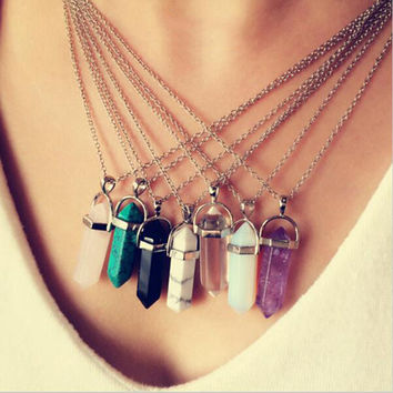 Hexagonal Column Necklace Resin turquoise Color Agate Amethyst Stone Pendant Chains Necklace For Women Fine Jewelry