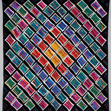 Museum quality art quilt. Abstract textile art. Unique wall hanging. Rainbow of colors. 90x90 inches. Geometric quilt. Unique fiber art.