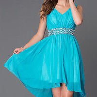 V-Neck High Low Homecoming Dress 8776