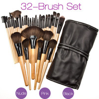 New 32 Makeup Brushes Wood Set PU Leather Case Bag Cosmetic Facial Lip Eye Make Up Brush Puff Kit 2016 Professional Pop Tools