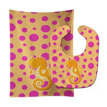 Beach Seahorse Baby Bib & Burp Cloth BB8835STBU