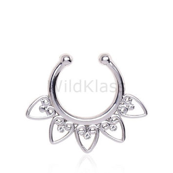 Fake Septum Clicker Ring Ornamental Hearts CZ Gems 316L Surgical Steel