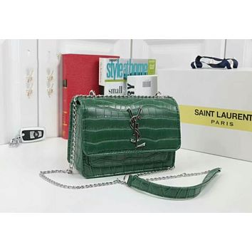 YSL Women Shopping Crocodile Fashion Leather Chain Satchel Shoulder Bag Crossbody Green I-WMXB-PFSH