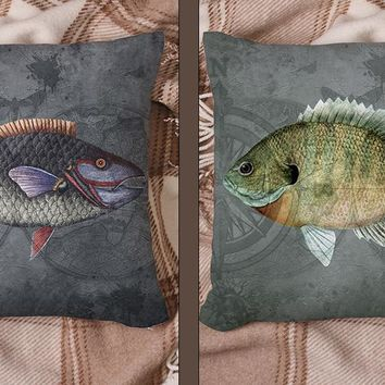 Vintage Inspired Fish Art Throw Pillow Series