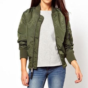 FASHION SOLID COLOR ZIPPER JACKET COAT