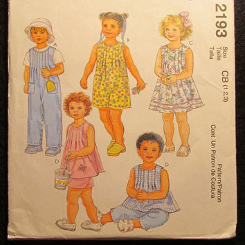 SALE Uncut 1999 McCall's Sewing Pattern, 2193! 1-2-3 Infant/Toddlers/Girls/Boys/Overalls/Coveralls/Rompers/Snap Crotch Dress/Tops/Pants/Shor