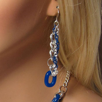 Earrings Silver and Navy Big Links with Vintage Blue Enameled and Silver Twisted Rope Chain