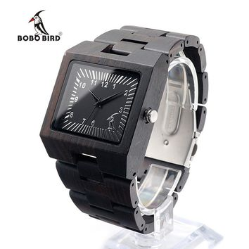 BOBO BIRD CdL23 Square Ebony Wooden Watches Fashion Men with BOBO BIRD Figure on the Dial Face Uomo Orologio for Homme
