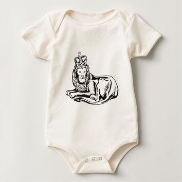 lion king with crown sitting baby bodysuit