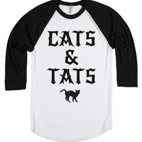 Cats and Tattoos-Unisex White/Black T-Shirt