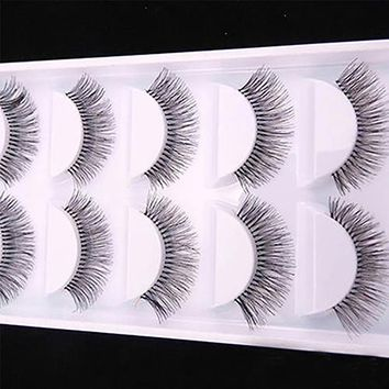 5Pairs Natural Sparse Cross Eye Lashes Extension Makeup Long False Eyelashes