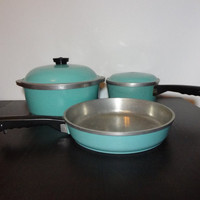 Vintage Turquoise Blue Club Cookware - Set of 3 - Dutch Oven, Large Skillet/Fry Pan, and Sauce Pan - Aluminum Cookware