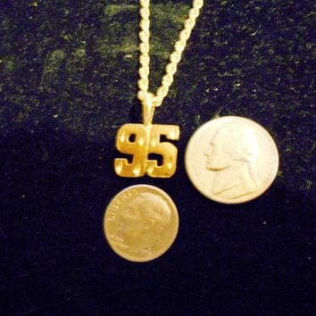 bling gold plated overlay layered bonded clad number 95 sport casino gaming icon sign symbol emblem ace nascar racing auto pendant charm chain hip hop necklace