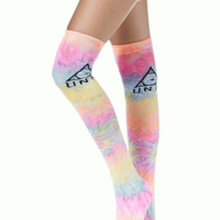 Knee dye say more? The knee dye tiedye socks are going thigh high with a knit Unif Logo on both sides.