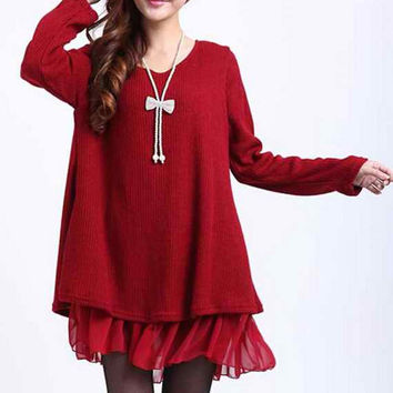 Red Long Sleeve Bowknot Dress